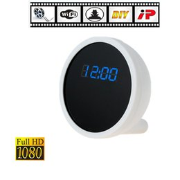 Wholesale Time Clocks Wifi - 32GB P2P WiFi IP 1080P HD Spy Clock Pinhole Hidden Camera DVR Camcorder Motion Detection Remote View Real time Video for PC Smartphone