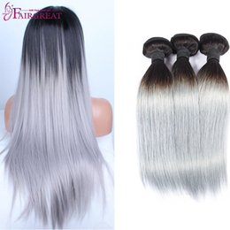 Wholesale Platinum Color Hair Extensions - New Arrival Ombre Grey Virgin straight 1b Grey Platinum Grey Hair Weave 3Pcs Silver Extensions Two Tone Grey Ombre Weave