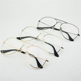 Wholesale Sunglasses Transparent Men - Fashion Women Glasses Frames Men Transparent Classic Aviation Sunglasses Brand Designer Metal Optical Clear Lens Spectacle