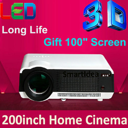 Discount cheapest hd led 3d projector - Wholesale- Cheapest !! 4000lumens HD LED Home Cinema Projector LCD 3D Video TV Proyector HDMI Digital Beamer Free Gift 100inch Screen