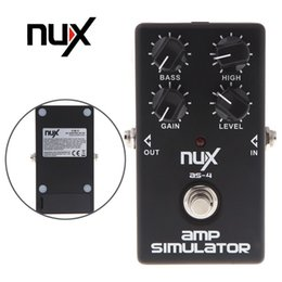 Wholesale Guitar Amplifier Effects - NUX AS-4 Amplifier Simulator Effect Violao Guitar Electric Effect Pedal True Bypass Black Musical Instrument Parts Electronic