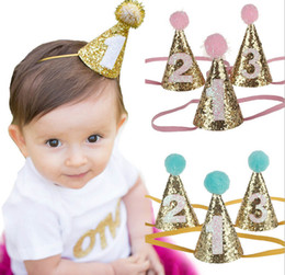 Wholesale happy birthday crown - 2017 New Coming Birthday Party Hat Newborn Felt Crown Headband Happy Birthday Headwear Girl Crown Headband pom pom headband 24Pcs lot