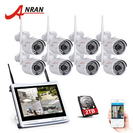Wholesale wifi outdoor security camera system - ANRAN 8CH Wireless Surveillance System 12 Inch LCD NVR Kit P2P 720P HD IR WIFI IP Camera Outdoor Security Camera System 2TB HDD