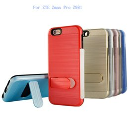 Wholesale X5 Green - For ZTE Zmax Pro Z981 For LG X MAX X5 Dual Layer Polish Brushed Metal Hybrid Armor Kickstand Case credit card slot