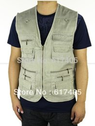 Wholesale Denim Jacket Vest Men - Wholesale- 2016 Summer Men's Hot sale Plus Size 4XL 5XL Jacket Denim Vest Casual Multi-pocket Waistcoat Men Free Shipping