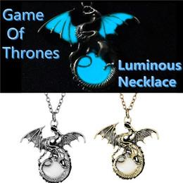 Wholesale Glow Dark Necklaces Wholesale - 2017 Fashion Men Game of Thrones Glow in the Dark Dragon Pendant Necklace Luminous Bronze Silver Punk Vintage Jewelry Boys Friend Gift