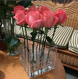 Wholesale Container Cube - New arrival Fashion Acrylic Vase 9 holes Rose flower display box Transparent Cube flower Container with Lid fashion gift can be DIY