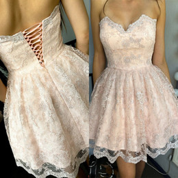 Wholesale Junior Pink Lace Cocktail Dress - 2017 New Blush Pink Lace Homecoming Dresses Corset Backless A Line Sweetheart Junior Short Party Gowns Cocktail Dresses
