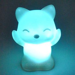 Wholesale Color Changing Led Nightlights - Wholesale- Lovely for Creative Color Changing ABS Fox-Shaped LED Night Lights Lamp Beautiful Home Decorative Wall Nightlights