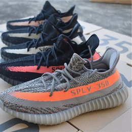 Wholesale Green Infant Shoes - (With BOX ) Cheap Zebra Black Red Infant Sport Shoes V2 Kanye west 350 BOOST v2 Black White Grey Orange Running Men Sneaker Shoes