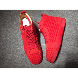 Wholesale Floor Borders - High Top Studded Spikes Casual Flats Shoes Red Bottoms Luxury Shoes 2017 New For Men Women Party Designer Sneakers Lovers Genuine Leather