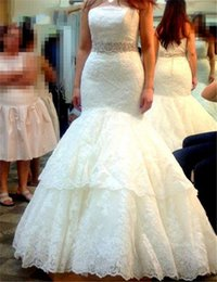 Wholesale strapless puffy wedding dresses - Beautiful Lace Mermaid Wedding Dresses 2017 Beads Sash Puffy Vintage Lace Mermaid Wedding Bridal Gowns Robe de Mariage