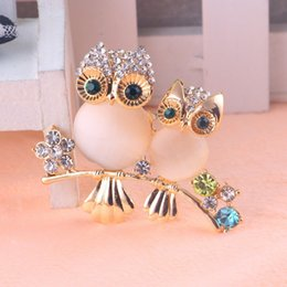 Wholesale Dual Owl - AMOURJOUX Pretty Dual Standing Owl Brooches Pin For Women With Clear Rhinestone Gold Color Alloy Pins Brooch Fashion Broche