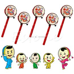 Wholesale Traditional Toys For Kids - Wholesale- Chinese Traditional Spin Toy Rattle Drum Kids Cartoon Hand Bell Plastic For Baby A19023 -B116