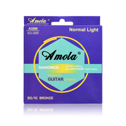 Wholesale Bronze Acoustic Strings - 12set Amola A3100 A3200 A3300 010 011 012 Phosphor Bronze Ulra Thin Coating Acoustic Guitar Strings 1st-6th Steel Strings