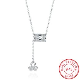Wholesale real clover necklace - Clover Inlaid Cubic Zircon Necklace 100% Real 925 Sterling Silver Statement Wedding Necklace Pendant Women Fashion Crystal Jewelry Wholesale