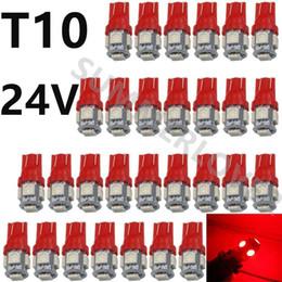 toyota corolla противотуманные фары лампа Скидка Автомобиль красный DC 24 в T10 LED W5W 5SMD Клин интерьер лампа 194 168 2825 боковая резервная противотуманная пластина лицензия тормозная лампа купол пластины свет