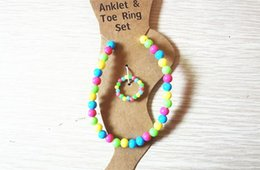 Wholesale Candy Ring Jewelry - Children's Jewelry Sets Candy Color Anklet & Toe Ring Set Elastic Adjustable Foot Jewelry Summer Beach Style Jewellry Children's A