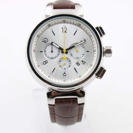 Wholesale Elegant Leather Watch - TAMBOUR Series Watch 42MM Elegant Quartz Chronograph Mens Watches With A White Dial On A Brown Alligator Strap
