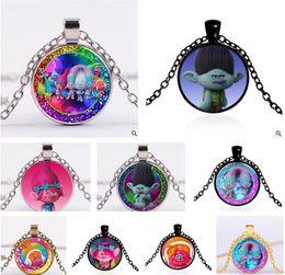 Wholesale Red Trolls - Poppy Trolls Necklaces DreamWorks Glass Jewlery Body Chain Movie Cartoon Jewelry 114 Design Trolls Pendant Necklaces for Best Xmas Gift