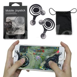 Wholesale ipad joypad - Universal Mini Mobile Joystick Dual Analog Joysticks Samrtphone Game Rocker Touch Screen Joypad Controller For iPad iPhone7 Samsung Free DHL
