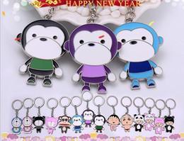 Wholesale Money Monkeys - Top sale Zodiac Monkey Keychain Creative Cartoon Couple Key Ring Chain Pendant Monkey Little Gift R261 Arts and Crafts mix order