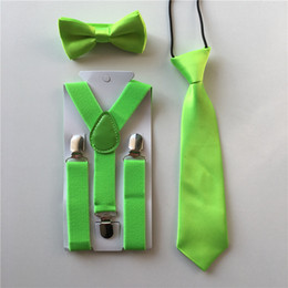 Wholesale Toddler Boys Party Clothes - Wholesale- New Design Kids Boys Girls Toddlers Bow Tie Necktie Suspenders Bowtie Set Elastic Adjustable School Party Clothing Accessories