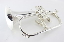 Wholesale Instrument Trumpet Silver - American Bach Flugelhorn Silver-plated B Flat Bb Professional Trumpet Top Musical Instruments in Brass Trompete Horn