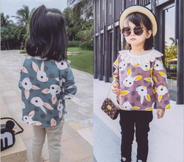 Wholesale Kids Lace Long Sleeve Shirts - 2017 INS NEW ARRIVAL Girls Kids Cotton Short Sleeve Lovely rabbit printing T shirt girls causal summer Lace collar t shirt Free Ship