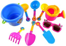 Wholesale Kids Beach Set - Wholesale- 9pcs set Baby Kids Sandy Beach Toy Set Dredging Tool Beach Bucket Sunglass Baby Playing With Sand Water Toys For Children#E