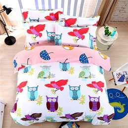 Wholesale Quilt Duvet Kids - Wholesale- owl animal cartoon comforter bedding bed sets kids 4 5 pcs bright colorful quilt duvet cover queen king twin brief bedsheets