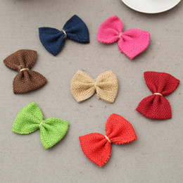Wholesale Lace Craft Bows - Natural Jute Burlap Hessian Bowknot Bows for Wedding craft birthday party decor Burlap Scrapbooking lace Hair Bow Hat craft DIY