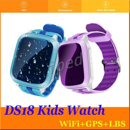 Wholesale Cheap Watches For Children - DS18 Smart Phone Watch Kid Wristwatch Anti-Lost GPS WiFi Tracker Clock For Kids SOS SIM Card Smartwatch For iOS Android Children cheap 20pcs