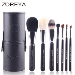 Wholesale Top Quality Makeup Brand Cosmetics - Zoreya Brand 7pcs Professional Eyelash Cosmetics Brush Makeup Brush Set with Barrel Colorful Cosmetics As Top Quality Makeup Tool