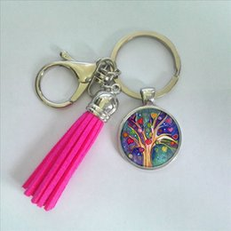 Wholesale Green Glass Art - 2017 Fashion Colorful Trees Keyring Tree of Life Tassel Keychain Glass Art Photo Keychains Handmade Accessory Gifts For Women