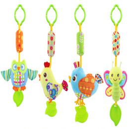 Wholesale Owl Crib - Wholesale- Baby Toys Rattles Toy Kids Soft Bird Chick Owl Plush Toy Animal Clip Baby Crib Bed Hanging Bells Toys for Stroller