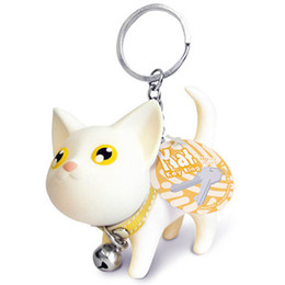Wholesale Cute Couple Toys - Meow doll keychain Cartoon Fashion Cat Kitten Keyring Bell Toy couple Lover Key Chain Rings For Handbag Creative Pet cute gift