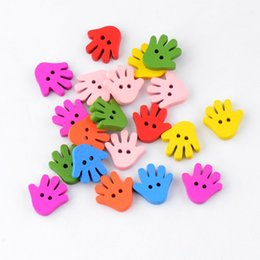 Wholesale Wood Buttons Free Shipping - Free Shipping wholesale 200Pcs Randomly Mixed Hand 18x18mm 2 Holes Wood Painting Sewing Buttons Scrapbooking