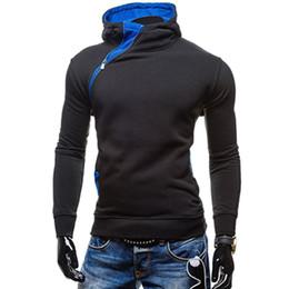 Блузка с капюшоном онлайн-2017 мода новый наклонный молния стиль мужчины толстовки Весна одежда Slim Fit Poleron Hombre плюс размер M-2XL Assassins Creed балахон