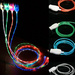 Wholesale Brilliant Lights - Brilliant Flowing lighting Charging Data Cable Wire Luminous Micro USB Charger Sync Cord For Samsung S7 S6 edge HTC Blackberry Universal