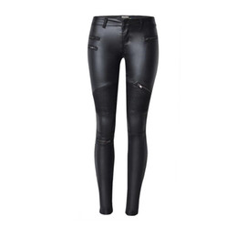 Wholesale High Waisted Leather Pants Women - Wholesale- High waisted skinny jeans black leather pencil pants faux leather european fashion bottoms up locomotive Elasticity jeans