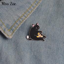Wholesale Pizza Jacket - Wholesale- Miss Zoe Meow Meow Pizza Cat Luna Bathing Kitten Brooch Button Pins Denim Jacket Pin Badge Cartoon Animal Jewelry Gift for Kids