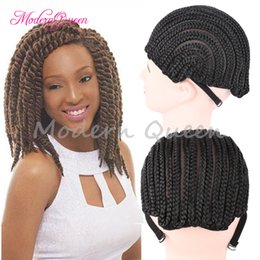 Wholesale Wholesale Cheap Wigs - Cheap Popular Black Cornrow Wig Caps For Making Wigs With Adjustable Strap Braided Cap 10pcs pack For Wig Cap Crochet Synthetic Braid