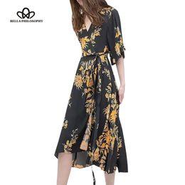 Wholesale Wholesale V Neck Wrap Dress - Wholesale- 2016 summer new fashion vintage floral print v neck-tie wrap front batwing half sleeve waisted long pleated dress