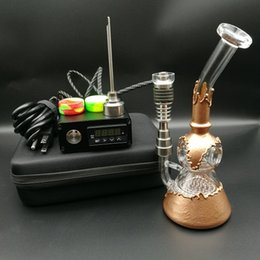 Wholesale Heater Oil - E Digital Nail Kit contain Ti Qtz nail fit flat 10mm&16mm&20mm coil heater with copper plating water pipe honeycomb perc functions oil rigs