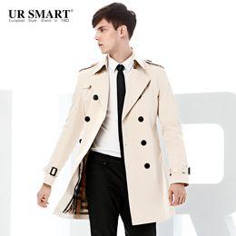Cappotto bianco doppio online-All'ingrosso-URSMART paragrafo uomini doppiopetto autunno cappotto di polvere cresce in giacca a vento da uomo bianco autentico autentico trench