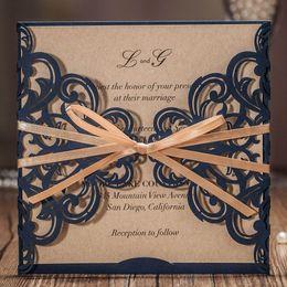 Canada Wishmade Laser Cut Carte D'invitations De Mariage Avec Ruban Bowknot Dentelle Conception De Fleur pour Mariage Fête D'anniversaire, Personnalisable 50pcs Offre
