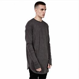 Wholesale Thumbs Cuff - Mens Hip Hop T Shirt full Long Sleeve T-Shirt With Thumb Hole Cuffs Tees shirts Curve Hem Men Street Wear Tops
