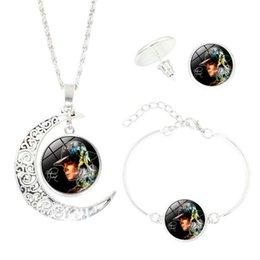 Wholesale Michael Set - Famous Brand Jewelry Set with Silver Plated Glass Cabochon Michael Jackson, Crescent Necklace Earring&Bracelet Set for Women