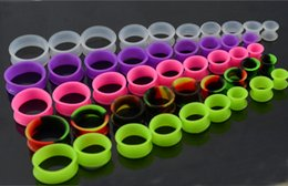 Wholesale Plug Double Flare - plug bug 126pcs lot body piercing Ultra soft silicone flexible double flat flared tunnel plug with different color silicone ear tunnel